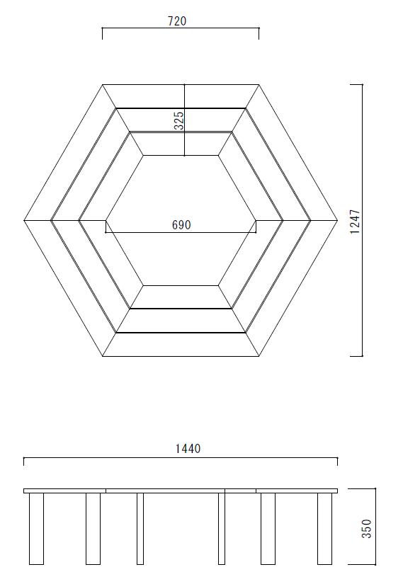 サークルベンチSサイズ図面