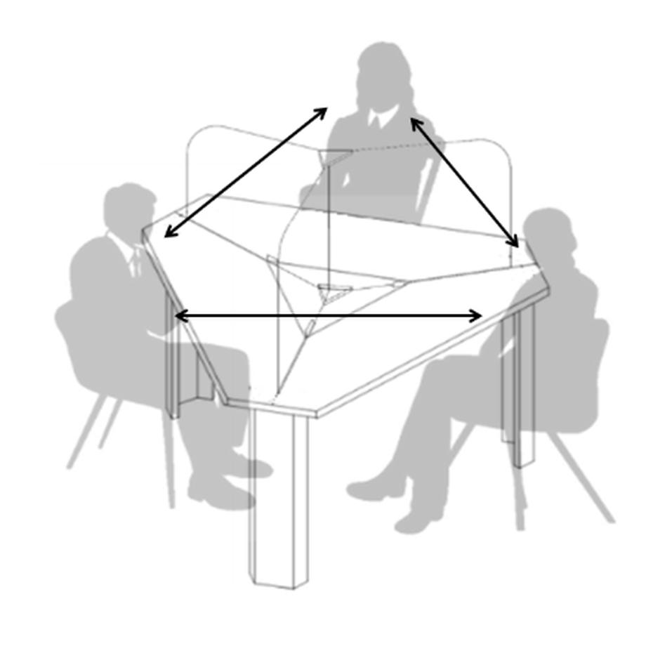 介護現場のコロナ対策テーブルに、三角テーブルSmile60°